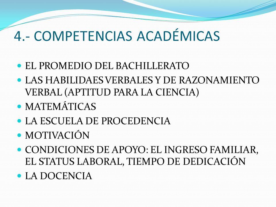 4.- COMPETENCIAS ACADÉMICAS