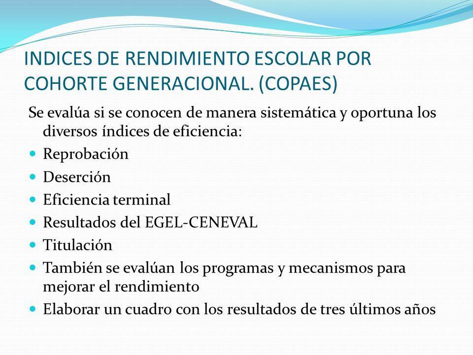 INDICES DE RENDIMIENTO ESCOLAR POR COHORTE GENERACIONAL. (COPAES)