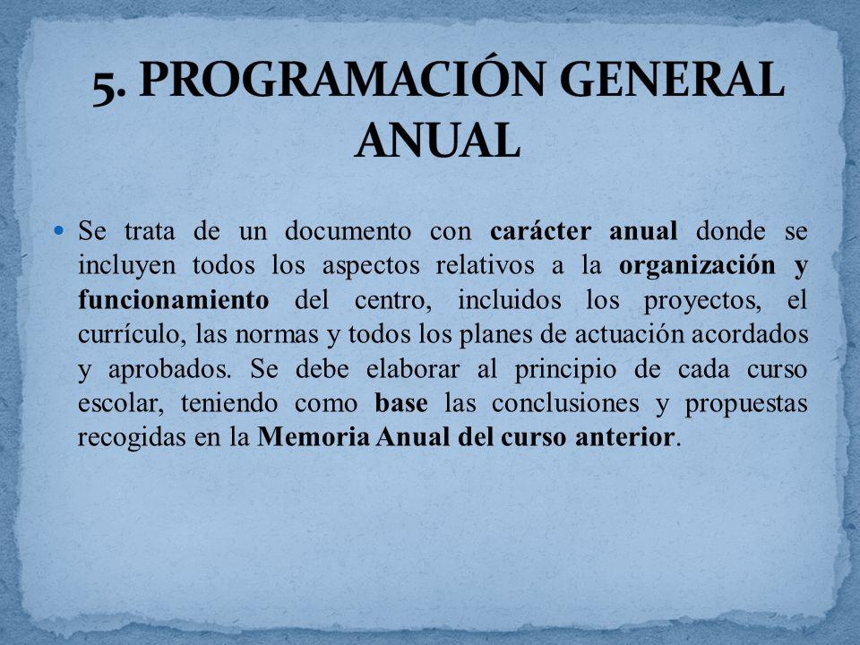 5. PROGRAMACIÓN GENERAL ANUAL