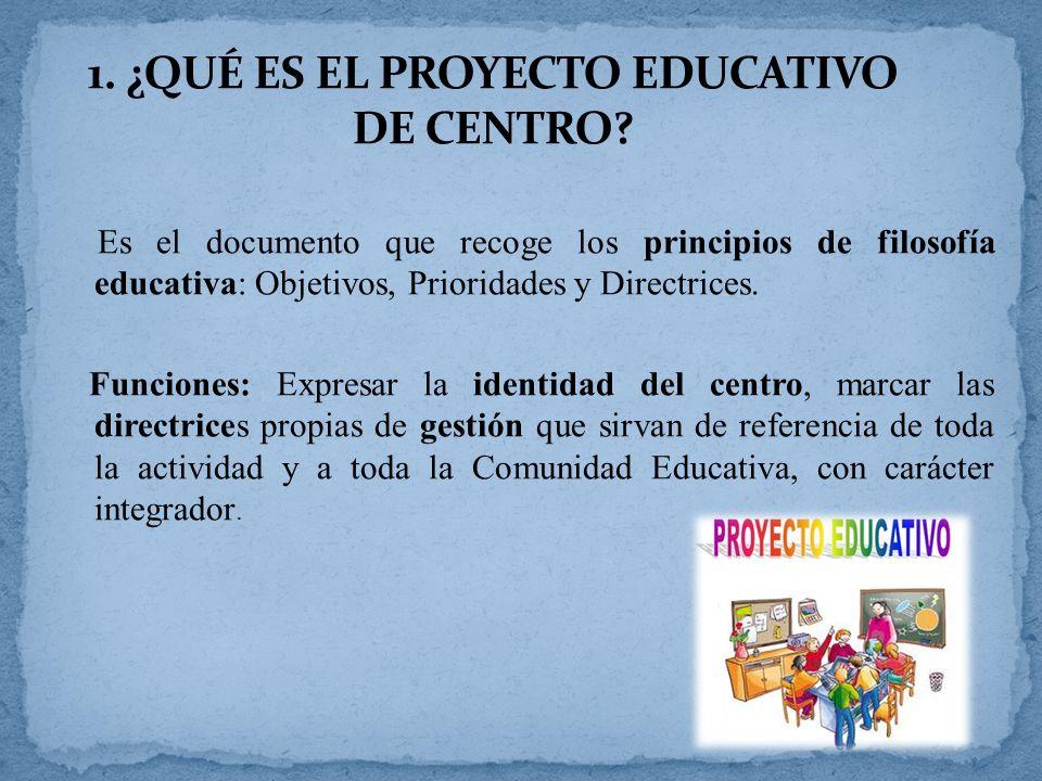 1. ¿QUÉ ES EL PROYECTO EDUCATIVO DE CENTRO