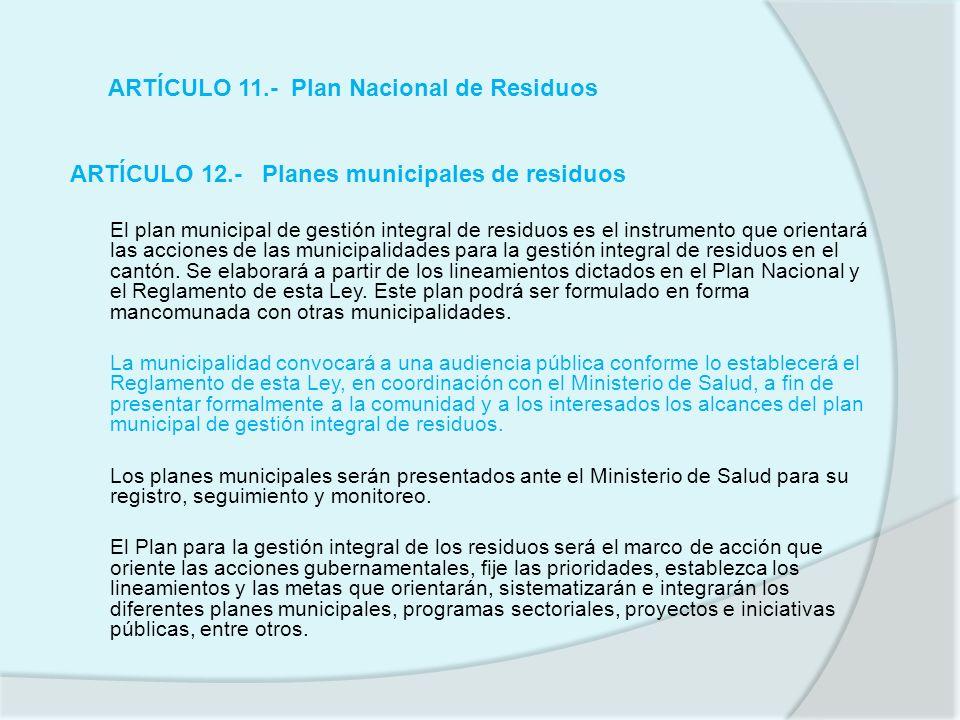 ARTÍCULO 11.- Plan Nacional de Residuos