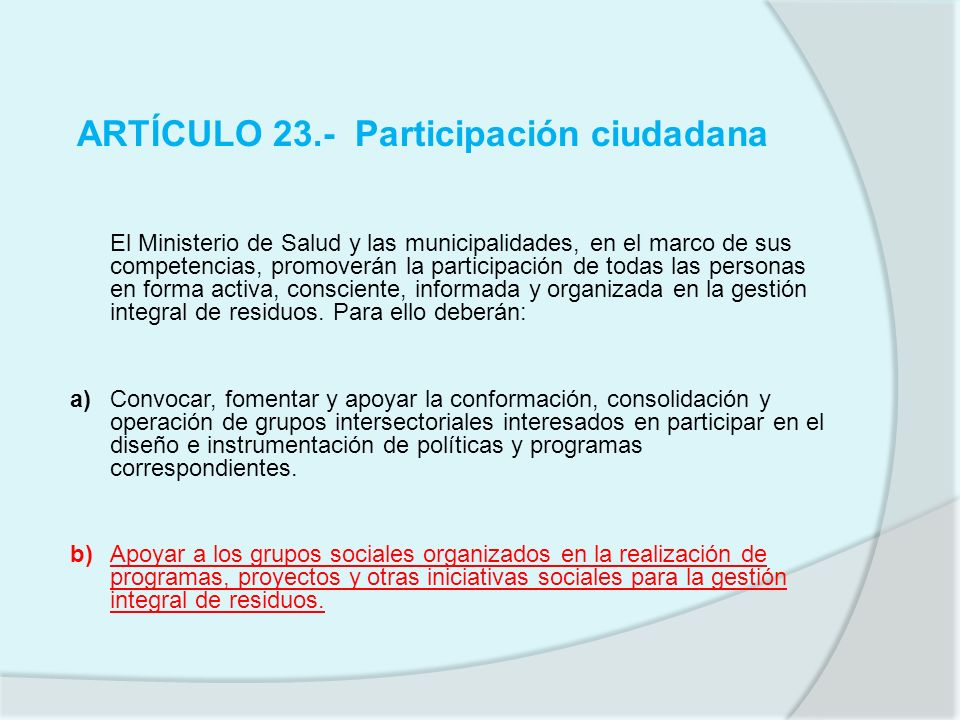 ARTÍCULO 23.- Participación ciudadana