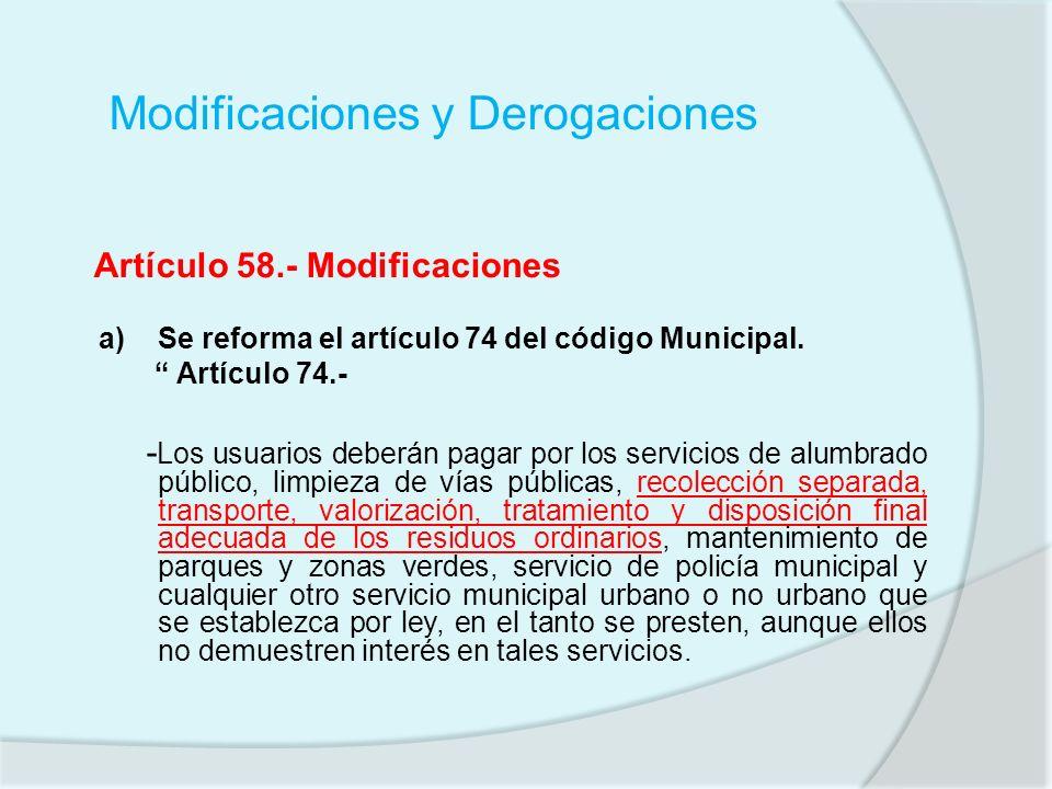Modificaciones y Derogaciones