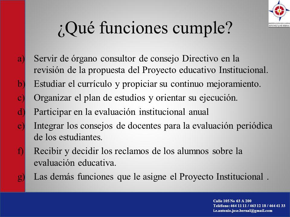 ¿Qué funciones cumple Servir de órgano consultor de consejo Directivo en la revisión de la propuesta del Proyecto educativo Institucional.