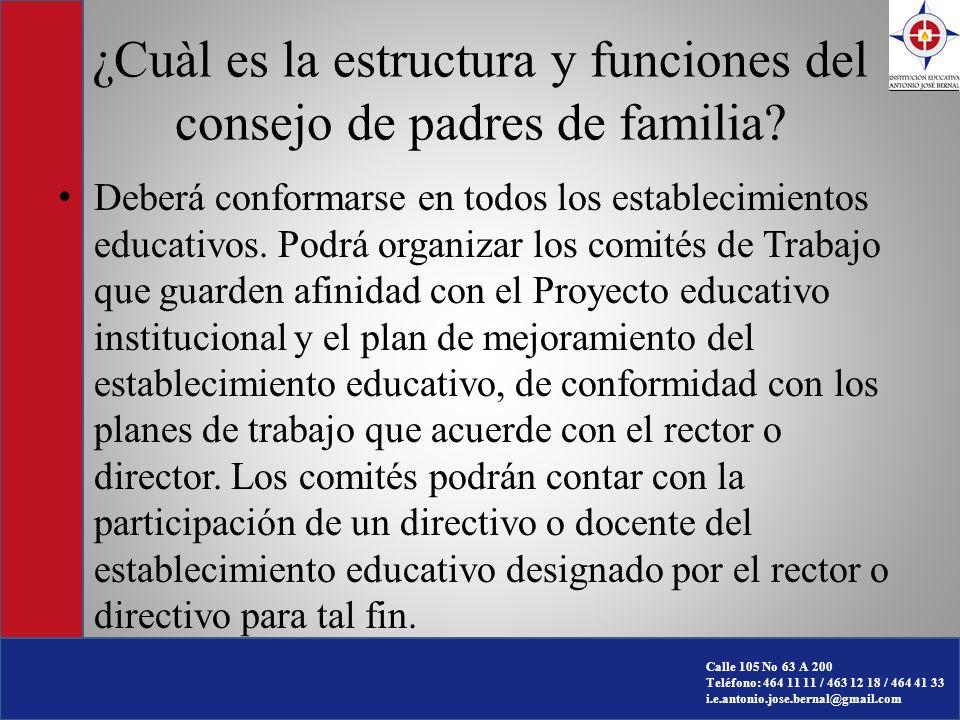 ¿Cuàl es la estructura y funciones del consejo de padres de familia