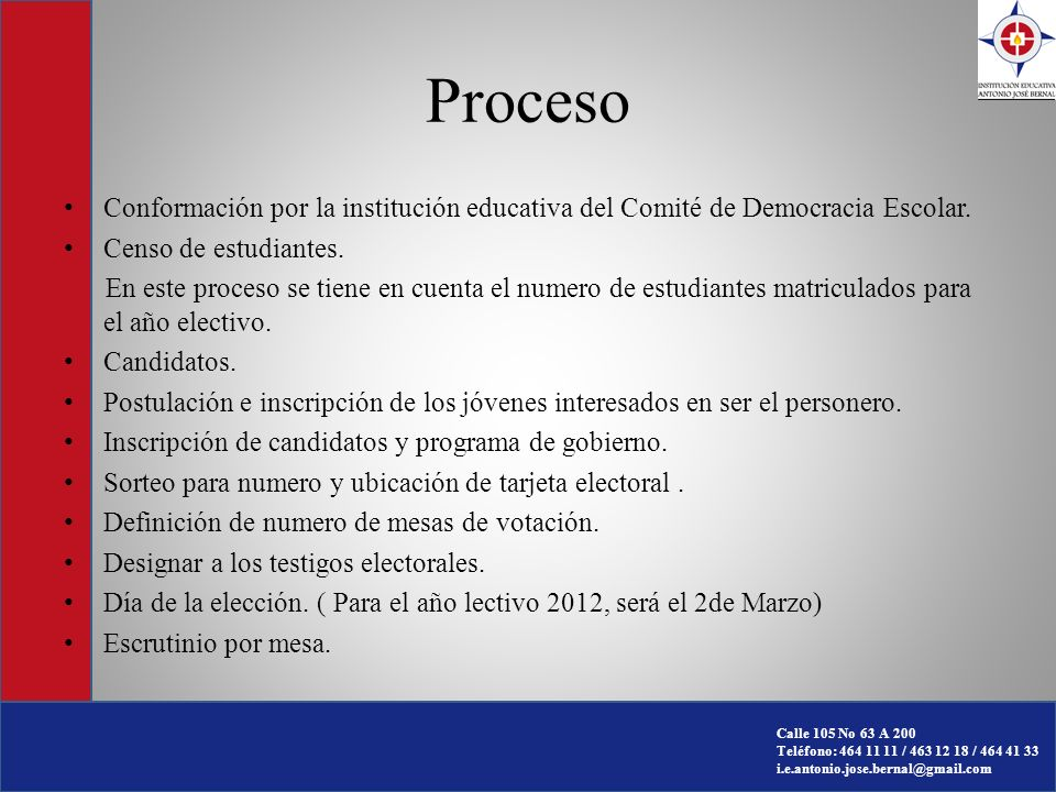 Proceso Conformación por la institución educativa del Comité de Democracia Escolar. Censo de estudiantes.