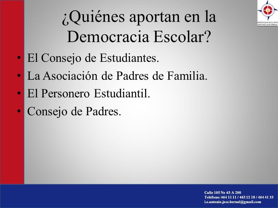¿Quiénes aportan en la Democracia Escolar