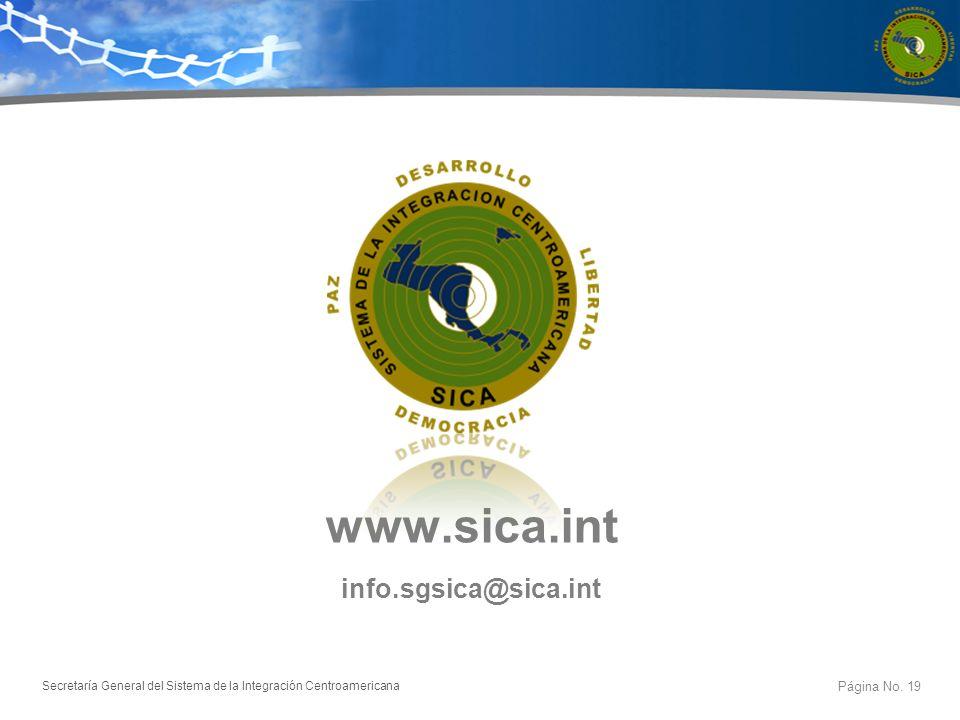 www.sica.int info.sgsica@sica.int Página No. 19