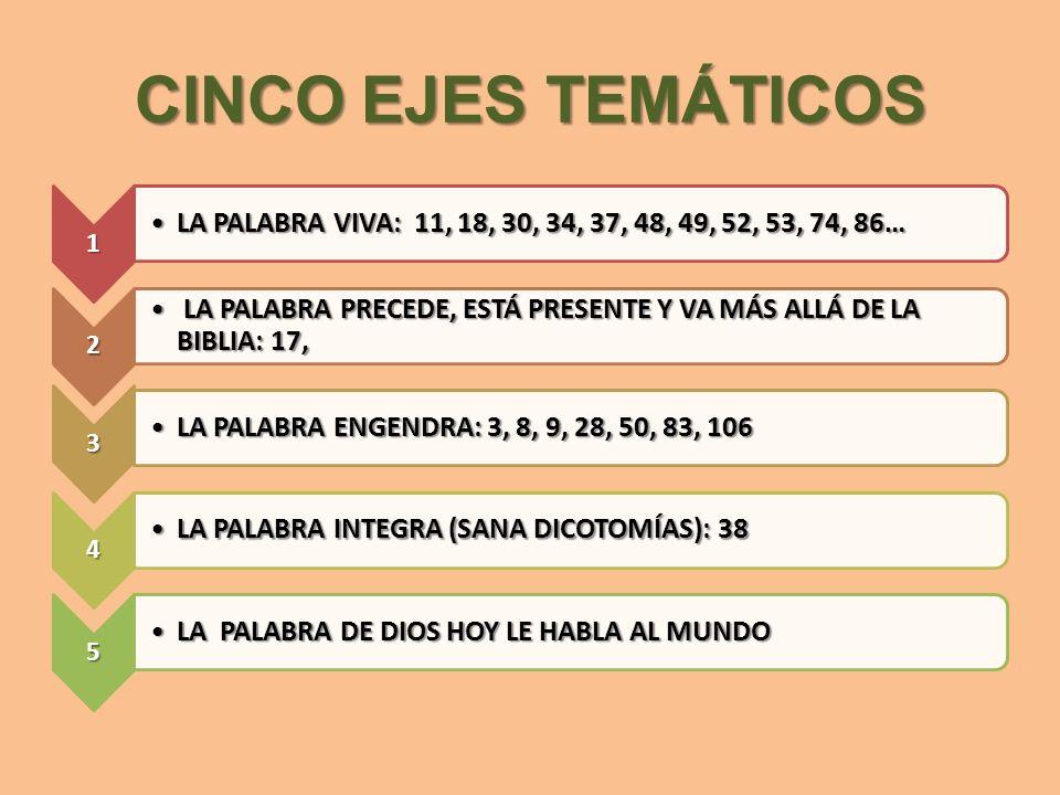 CINCO EJES TEMÁTICOS 1. LA PALABRA VIVA: 11, 18, 30, 34, 37, 48, 49, 52, 53, 74, 86… 2.