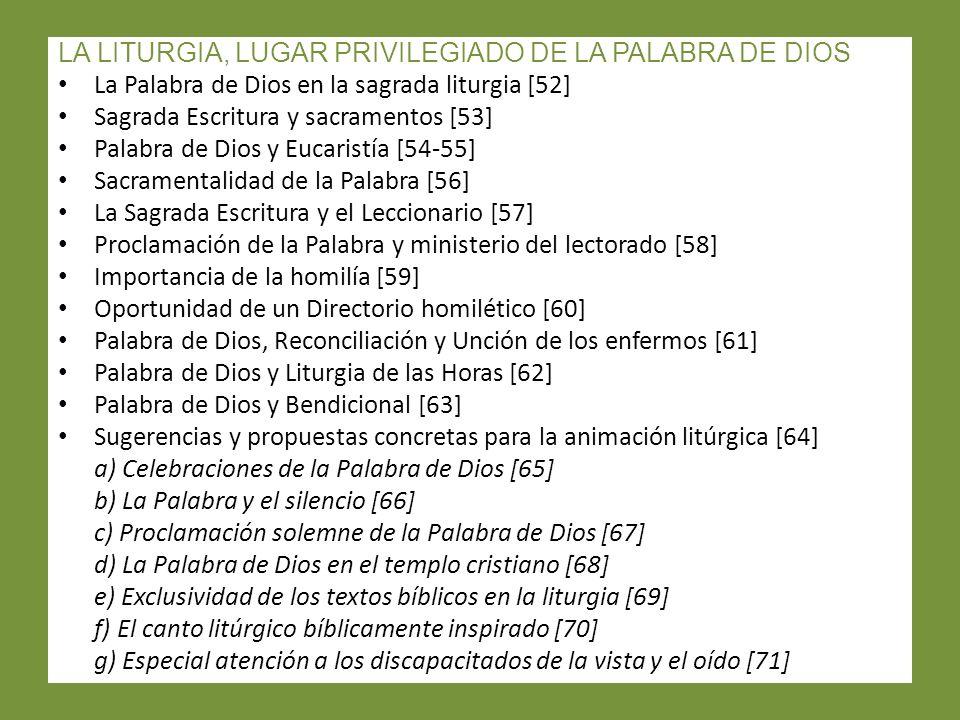 LA LITURGIA, LUGAR PRIVILEGIADO DE LA PALABRA DE DIOS