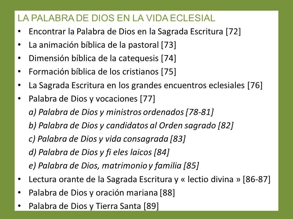 LA PALABRA DE DIOS EN LA VIDA ECLESIAL