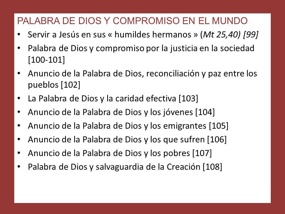 PALABRA DE DIOS Y COMPROMISO EN EL MUNDO