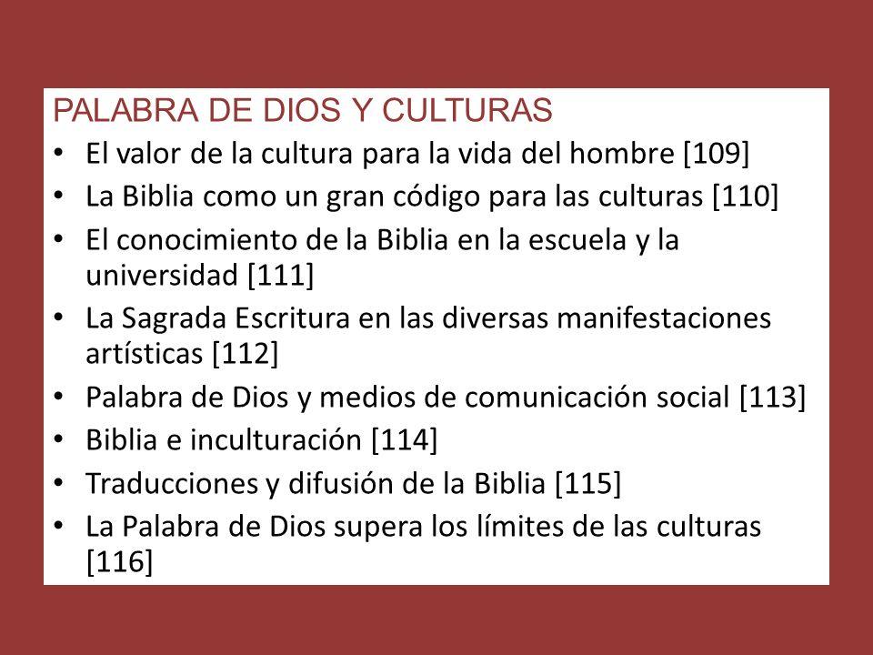 PALABRA DE DIOS Y CULTURAS