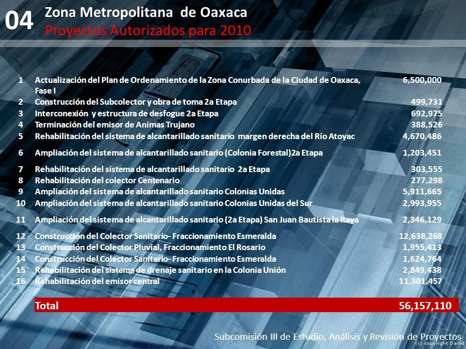 04 Zona Metropolitana de Oaxaca Proyectos Autorizados para 2010 Total