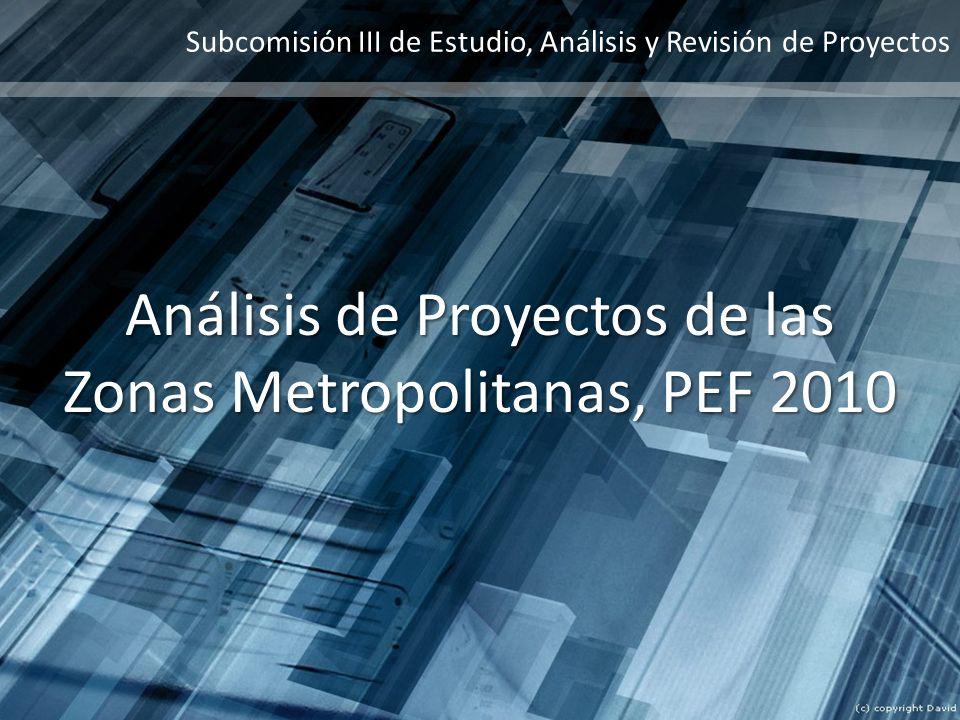 Análisis de Proyectos de las Zonas Metropolitanas, PEF 2010
