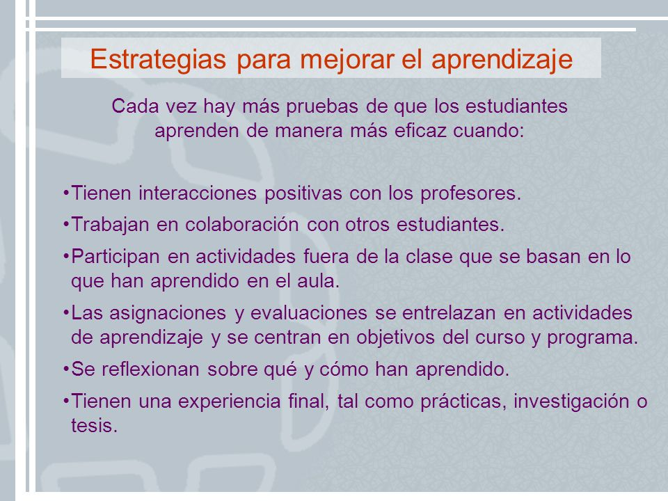 Estrategias para mejorar el aprendizaje