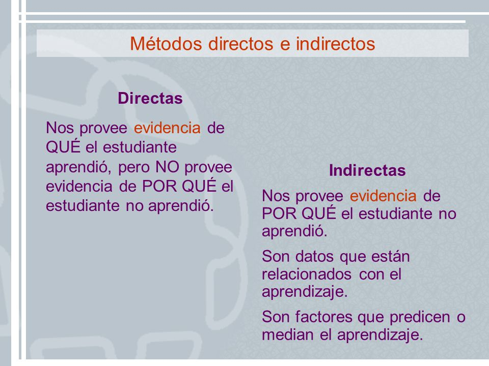 Métodos directos e indirectos
