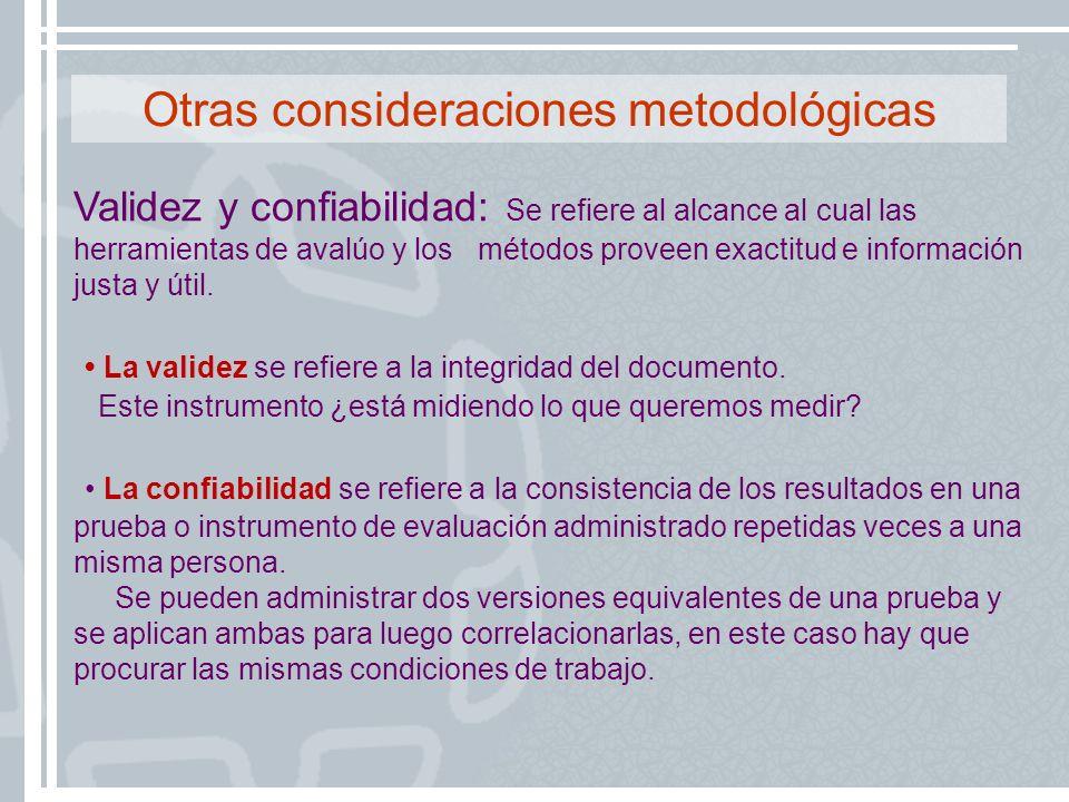 Otras consideraciones metodológicas