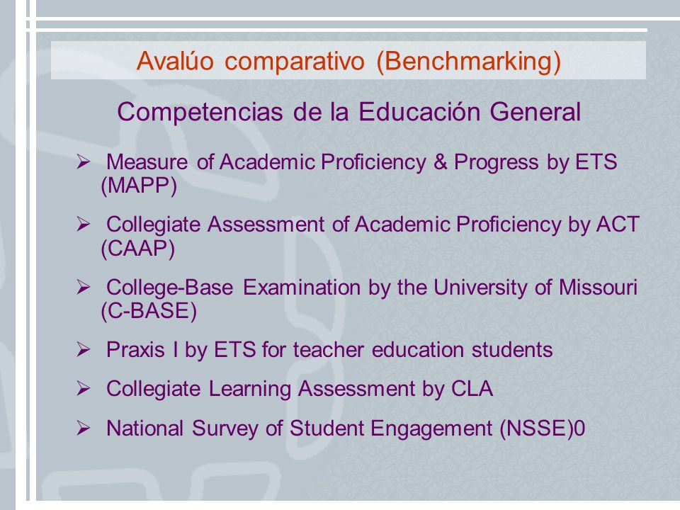 Avalúo comparativo (Benchmarking)