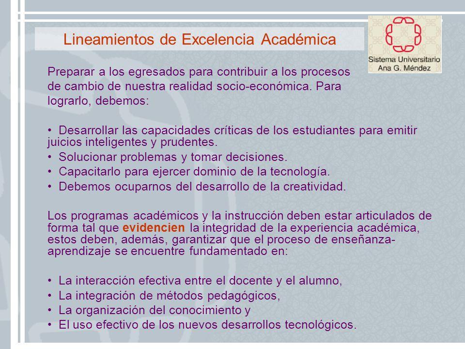 Lineamientos de Excelencia Académica