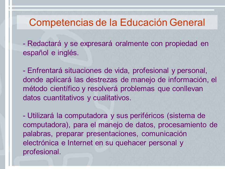 Competencias de la Educación General