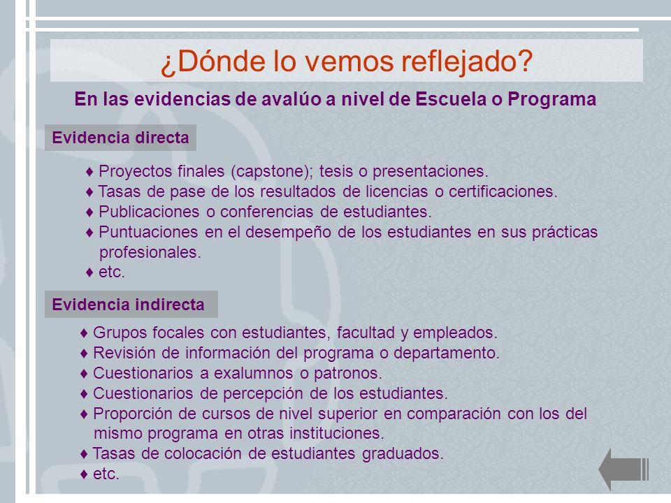 En las evidencias de avalúo a nivel de Escuela o Programa