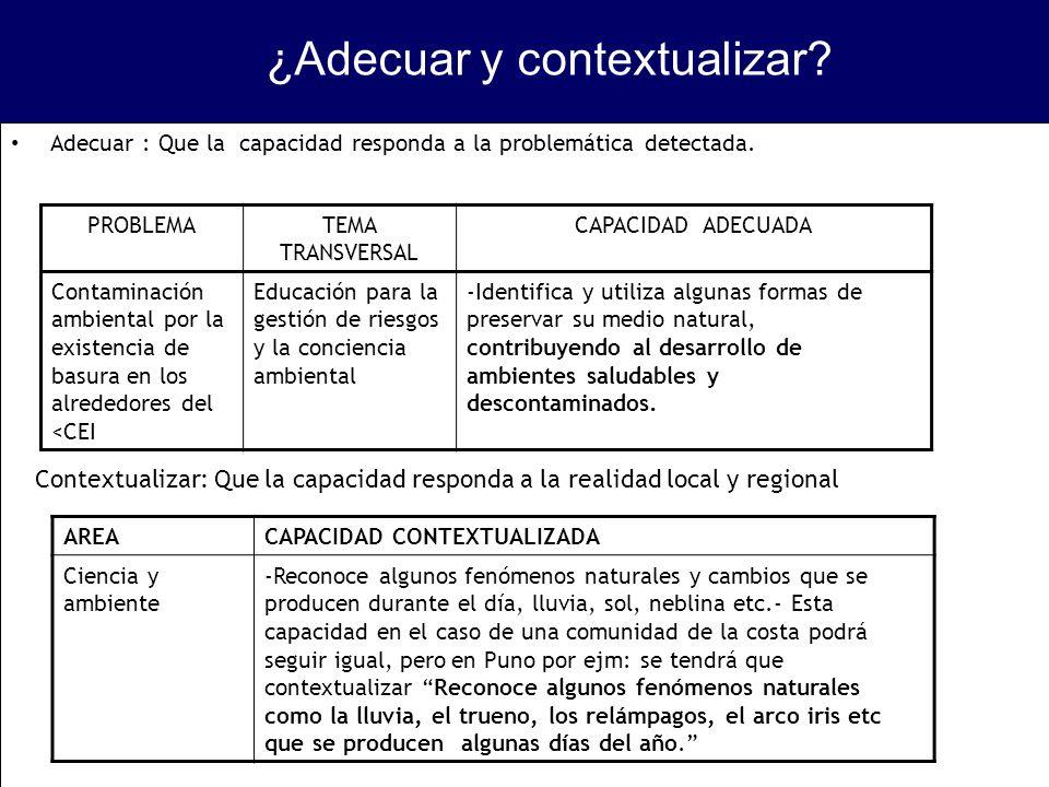 ¿Adecuar y contextualizar