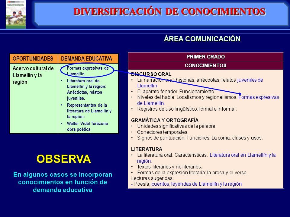 DIVERSIFICACIÓN DE CONOCIMIENTOS