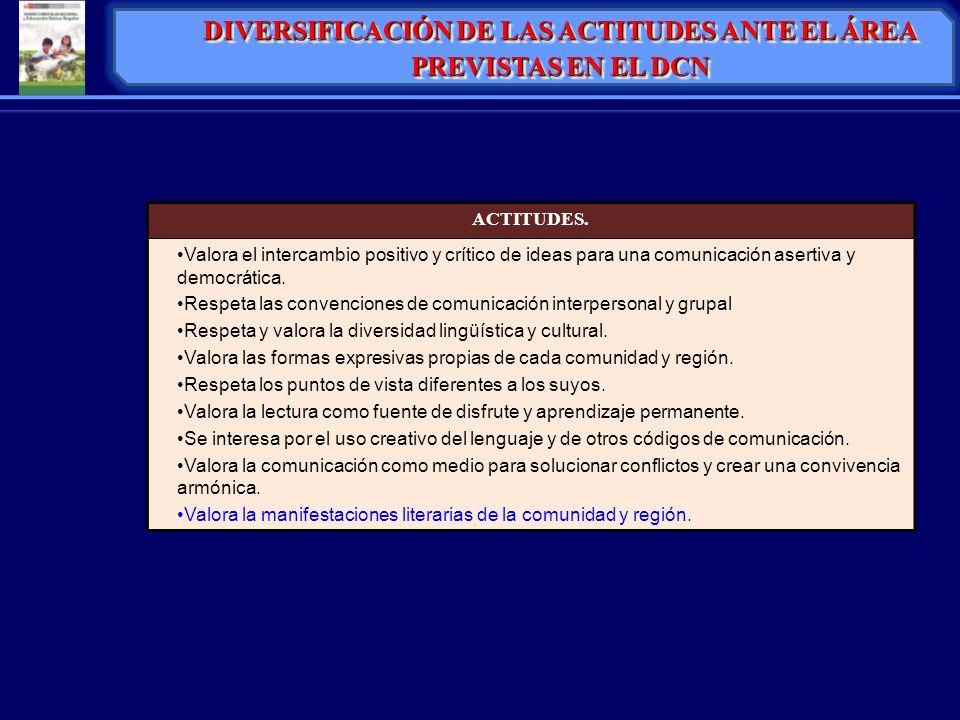 DIVERSIFICACIÓN DE LAS ACTITUDES ANTE EL ÁREA PREVISTAS EN EL DCN