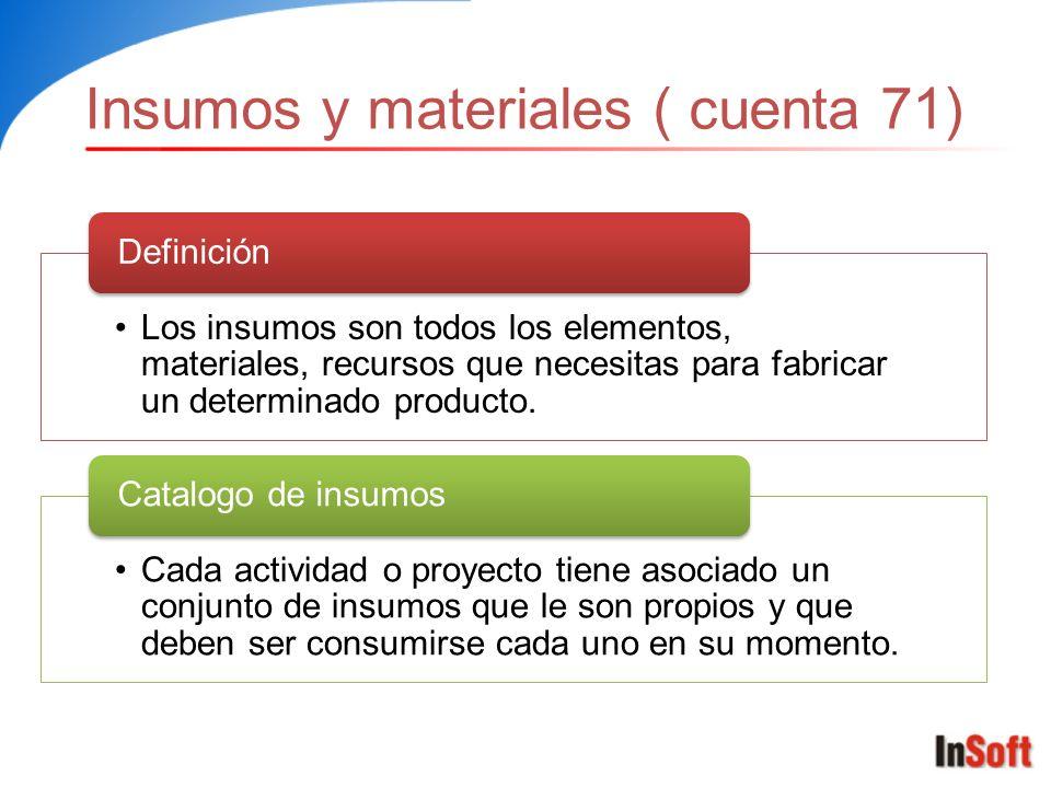 Insumos y materiales ( cuenta 71)