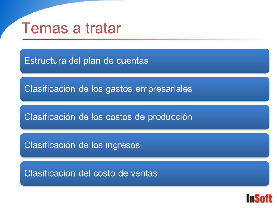 Temas a tratar Estructura del plan de cuentas