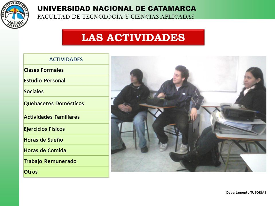 LAS ACTIVIDADES ACTIVIDADES Clases Formales Estudio Personal Sociales