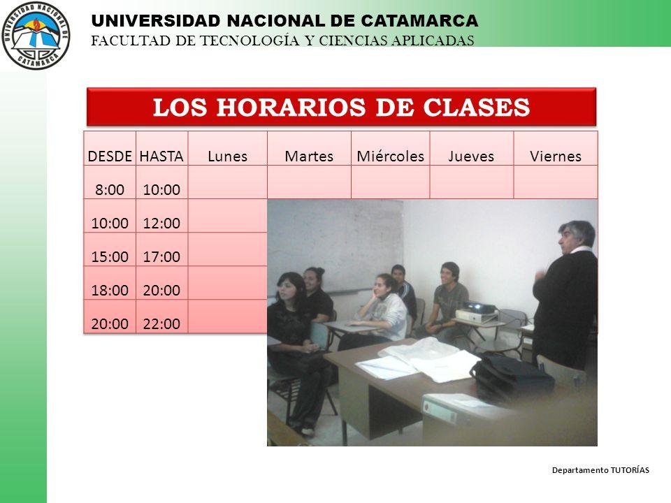 LOS HORARIOS DE CLASES DESDE HASTA Lunes Martes Miércoles Jueves