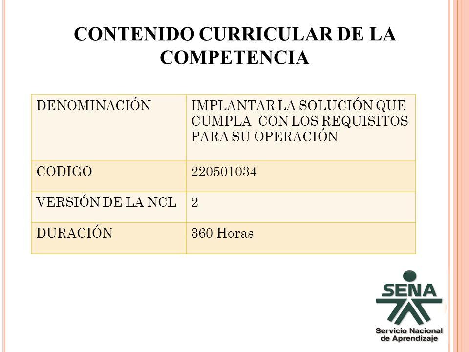 CONTENIDO CURRICULAR DE LA COMPETENCIA