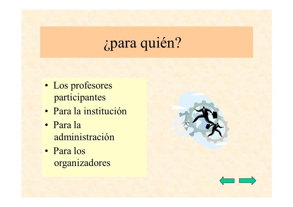 ¿para quién • Los profesores participantes • Para la institución