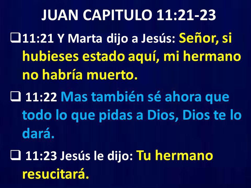 JUAN CAPITULO 11:21-23 11:21 Y Marta dijo a Jesús: Señor, si hubieses estado aquí, mi hermano no habría muerto.
