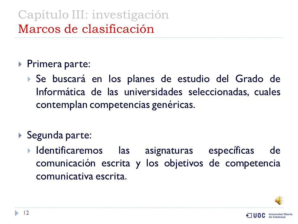 Capítulo III: investigación Marcos de clasificación