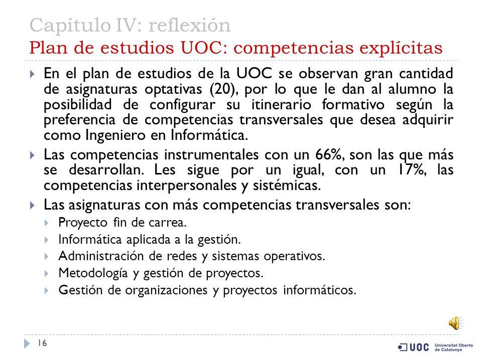 Capítulo IV: reflexión Plan de estudios UOC: competencias explícitas