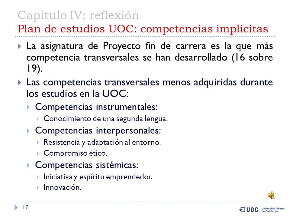 Capítulo IV: reflexión Plan de estudios UOC: competencias implícitas