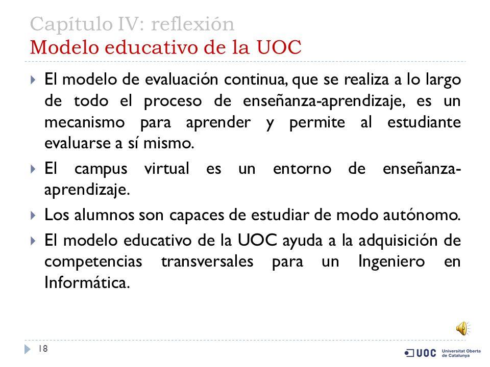 Capítulo IV: reflexión Modelo educativo de la UOC