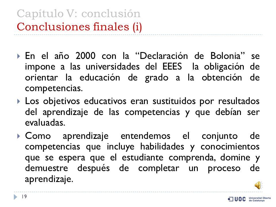 Capítulo V: conclusión Conclusiones finales (i)