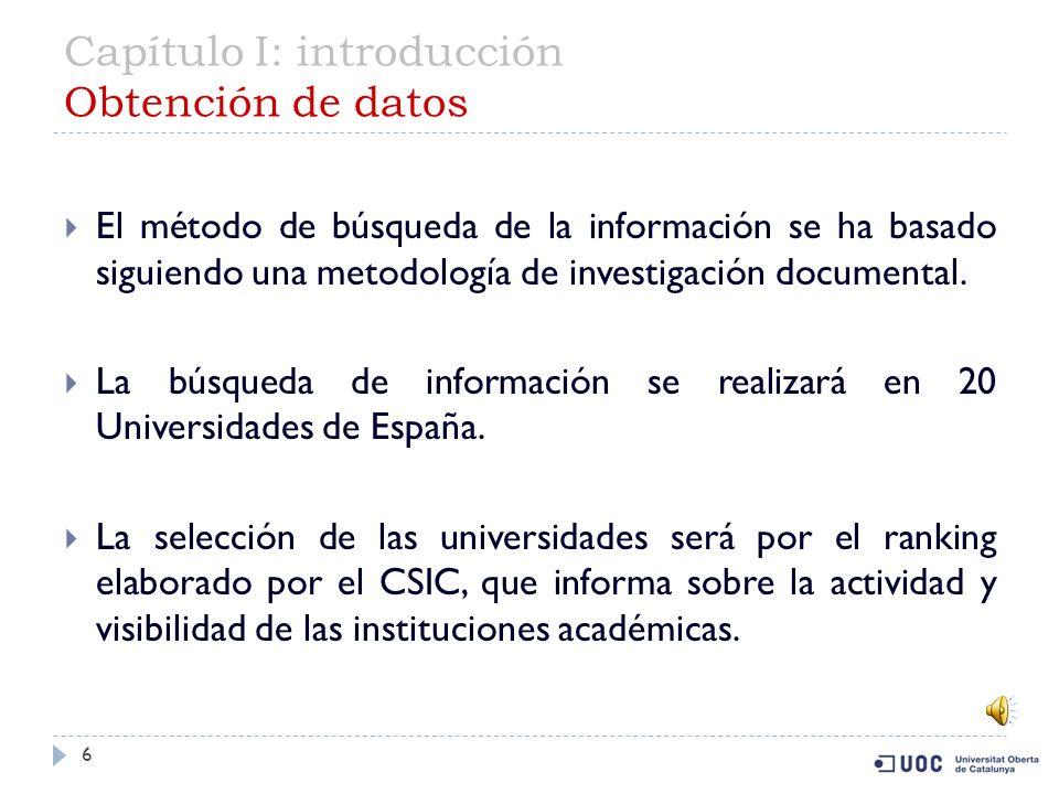 Capítulo I: introducción Obtención de datos