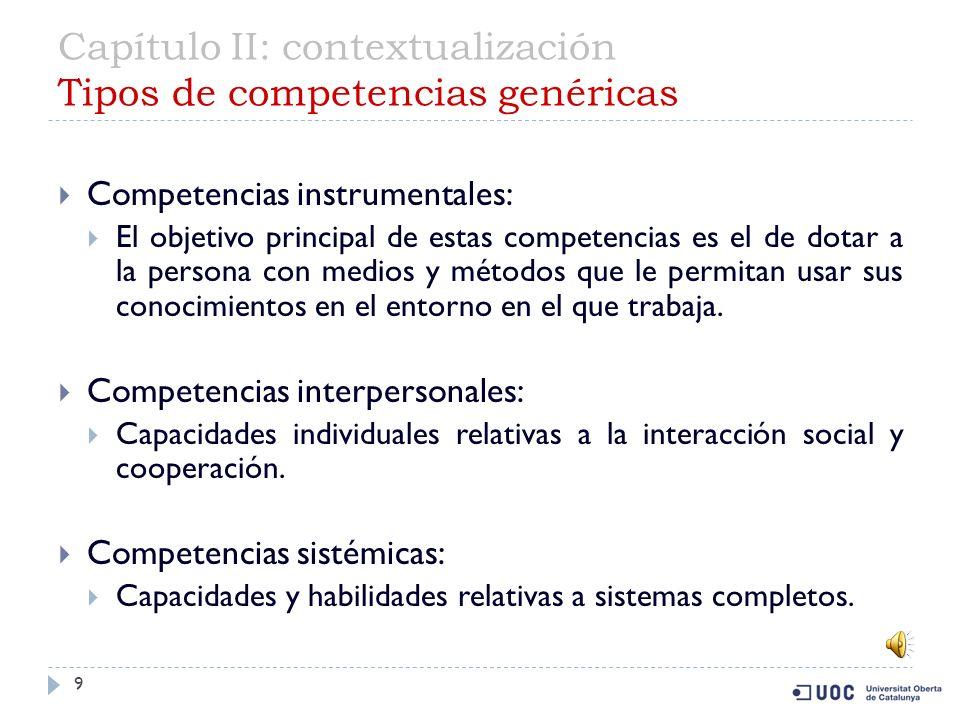 Capítulo II: contextualización Tipos de competencias genéricas