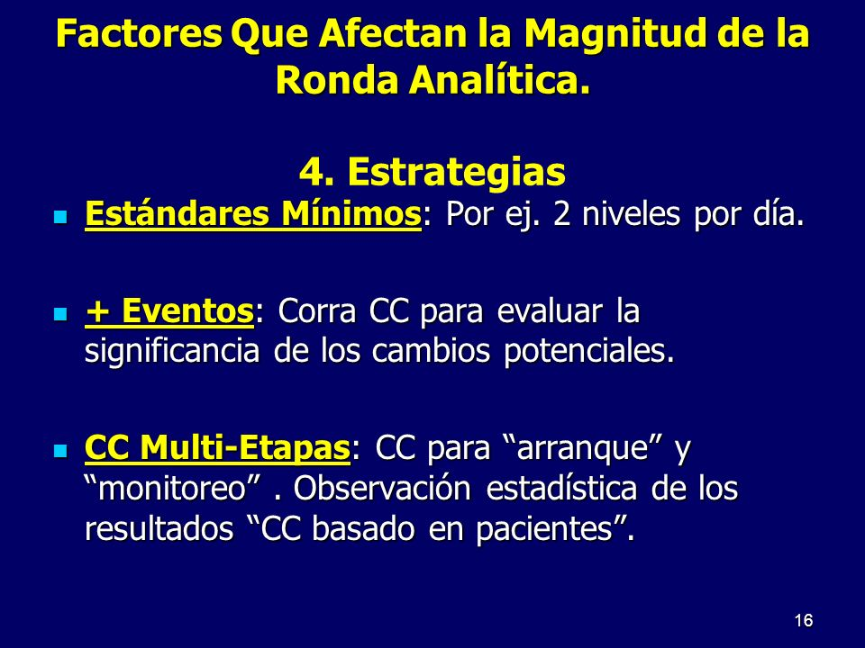 Factores Que Afectan la Magnitud de la Ronda Analítica. 4. Estrategias