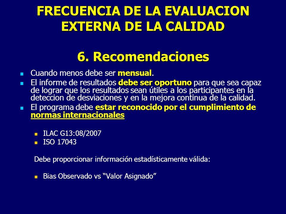 FRECUENCIA DE LA EVALUACION EXTERNA DE LA CALIDAD 6. Recomendaciones