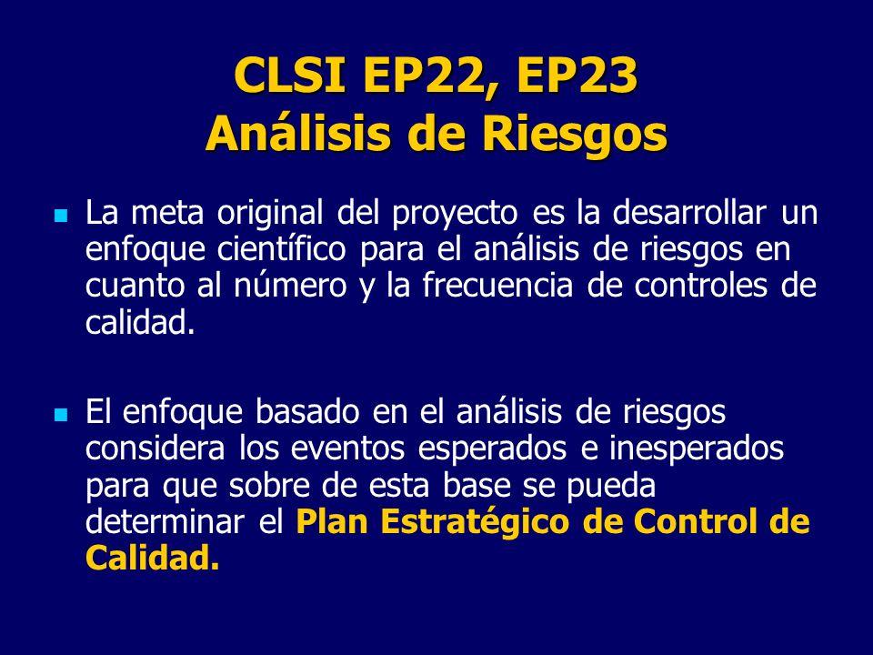 CLSI EP22, EP23 Análisis de Riesgos
