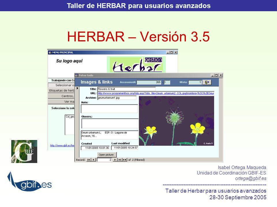 Taller de HERBAR para usuarios avanzados