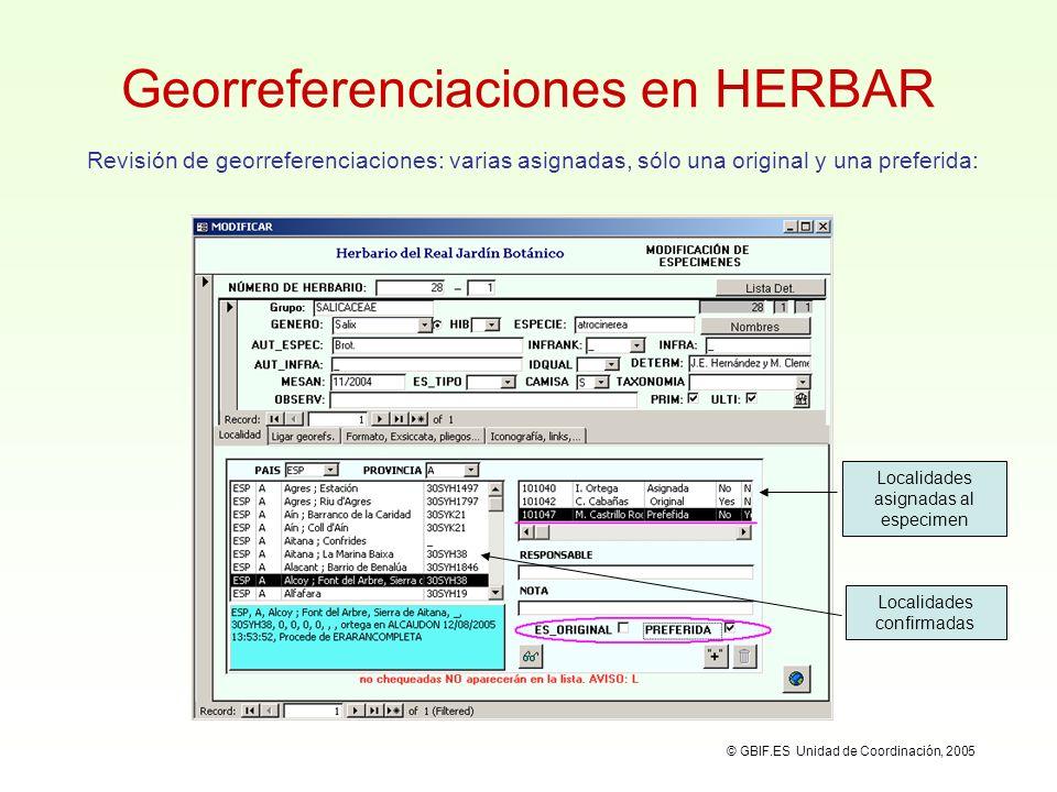 Georreferenciaciones en HERBAR