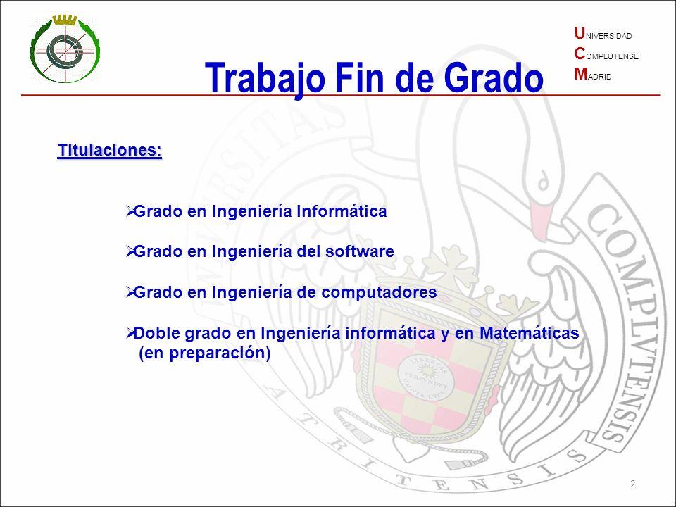 Trabajo Fin de Grado UNIVERSIDAD COMPLUTENSE MADRID Titulaciones: