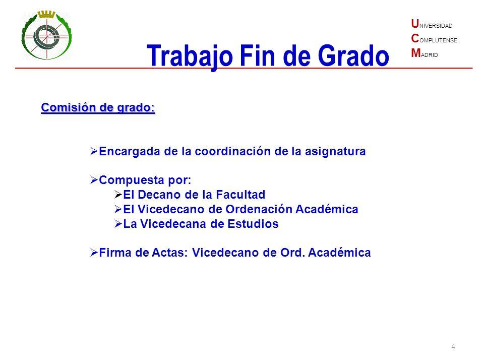 Trabajo Fin de Grado UNIVERSIDAD COMPLUTENSE MADRID Comisión de grado: